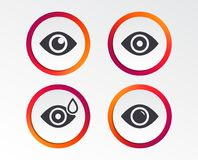 Eye signs. Eyeball with water drop symbols. Eye icons. Water drops in the eye symbols. Red eye effect signs. Infographic design buttons. Circle templates Royalty Free Stock Photo