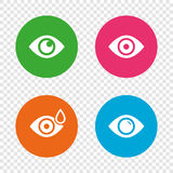 Eye signs. Eyeball with water drop symbols. Royalty Free Stock Photography