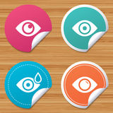 Eye signs. Eyeball with water drop symbols. Royalty Free Stock Image