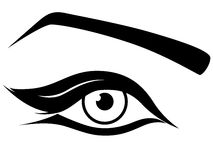 Eye silhouette close-up. Black and white hand drawing vector artwork Stock Photos