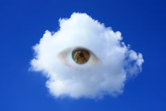 Eye on the sky. Eye in the cloud on the sky Stock Images