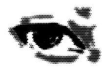Eye with space for Your text,. Eye made from black dots royalty free illustration