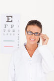Eye specialist wearing glasses Royalty Free Stock Photos