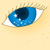 Eye with stars dreaming Stock Image