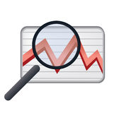 An eye on stock market charts. Vector illustration of glass lens on financial growth chart going down by the crisis effect Royalty Free Stock Photography