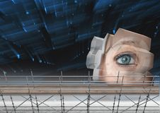 Eye structure with 3D Scaffolding. Digital composite of Eye structure with 3D Scaffolding Stock Photography