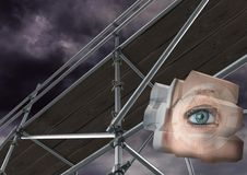 Eye structure with 3D Scaffolding. Digital composite of Eye structure with 3D Scaffolding Royalty Free Stock Image