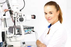 Eye surgery, eye clinic. Eye doctor during the treatment of vision refractive surgery Royalty Free Stock Photography