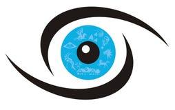 Eye symbol. Vector, unusual symbol of a blue eye Stock Photography
