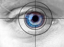 Eye and target. Blue human eye and target Royalty Free Stock Image