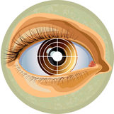 Eye and target. Pupil of a human eye combined with a target symbol. a vector illustration Stock Photos