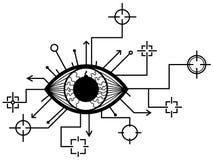 Eye Targets Design. Eye targets surveillance symbol drawing stylized black, vector illustration, horizontal, isolated Royalty Free Stock Photo