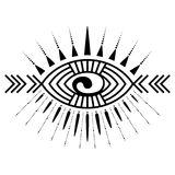 Eye tattoo element. Stylized ornamental eye. Tribal style. Tattoo element Stock Images