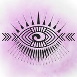Eye tattoo print. Abstract eye tattoo emblem with tribal style elements, fethers, Maori Kory symbol - vector illustration on watercolor background. Posible use Royalty Free Stock Photography