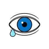 Eye with a tear illustration. Sad blue eye with a tear illustration Royalty Free Stock Photo