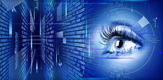 Eye on technology background. Human eye on technology design background. Cyberspace concept