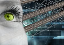 Eye with technology interface and 3D Scaffolding. Digital composite of Eye with technology interface and 3D Scaffolding Royalty Free Stock Images