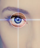 Eye technology, medicine and vision. Concept. Focus on blue woman eye Stock Image