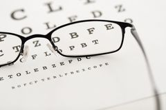 Eye test. Glasses on a test chart stock photo