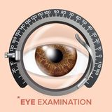 Eye Test Banner Vector. Clinic Consultation. Optometrist Check. Medical Background Illustration. Eye Test Banner Vector. Trail Frame. Diagnostic Equipment Royalty Free Stock Photography