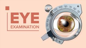 Eye Test Banner Vector. Correction Device. Optometrist Check. Test Illustration. Eye Test Banner Vector. Vision Correction. Optometrist Check. Trail Frame. Exam Royalty Free Stock Photography
