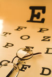 Eye test chart. Optometrist eye test chart orange royalty free stock images