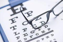 Eye test. Eye chart test with black glasses stock image