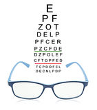 Eye test chart with blue glass. Eye test chart with blue glass isolated on white background Royalty Free Stock Image