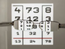 Eye test chart and eyeglasses Royalty Free Stock Photo