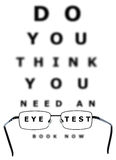 Eye Test Chart and Glasses. Eye examination chart with all the letters blurred apart from the words eye and test through the glasses Stock Images