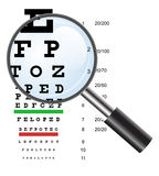 Eye test chart use by doctors and loupe. Vector Stock Image