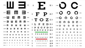 Eye Test Chart Vector. Vision Exam. Optometrist Check. Medical Eye Diagnostic. Different Types. Sight, Eyesight. Optical. Examination. Isolated Illustration royalty free illustration