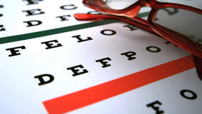 Eye test dice falling on eye test next to red reading glasses stock footage