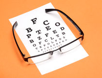 Eye test. Eye glass with test chart on orange background Royalty Free Stock Photography