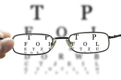 Eye test through glasses horizontal Royalty Free Stock Image