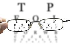 Eye test through glasses horizontal royalty free stock image