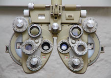 Eye test - Opitician's Equipment Royalty Free Stock Photos