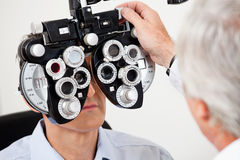 Eye Test With the Phoropter Stock Image