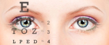 Eye with test vision chart. Close up royalty free stock images