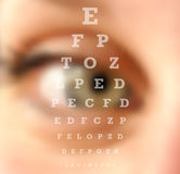 Eye test vision chart blurred effect. Eye test vision chart close up blurred effect. Ophthalmology concept background. EPS10 vector file with transparency layers Royalty Free Stock Images