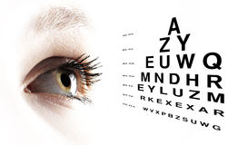 Eye with test vision chart close up Stock Photo