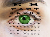 Eye test vision with man's face Royalty Free Stock Images