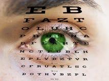 Eye testar vision med manen vänder mot Royaltyfria Bilder