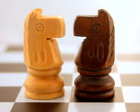 Eye to eye. 2 chess bishop (horse) figures eye to eye, face to face stock photos
