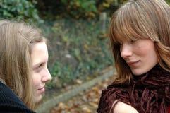 Eye to eye. Girls intensive Royalty Free Stock Photos