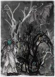Eye Tree. Halloween Poster. An Hand Drawn Vector. Royalty Free Stock Photos