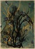Eye tree. Halloween poster. An hand drawn vector. Stock Photography