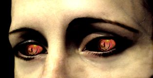 Eye of the vampire. Scene of the hungry glance of the vampire in nights Royalty Free Stock Photos