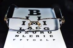 Eye vidros em uma carta de teste da visão, fim acima fotos de stock