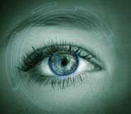 Eye viewing digital information. Royalty Free Stock Photos